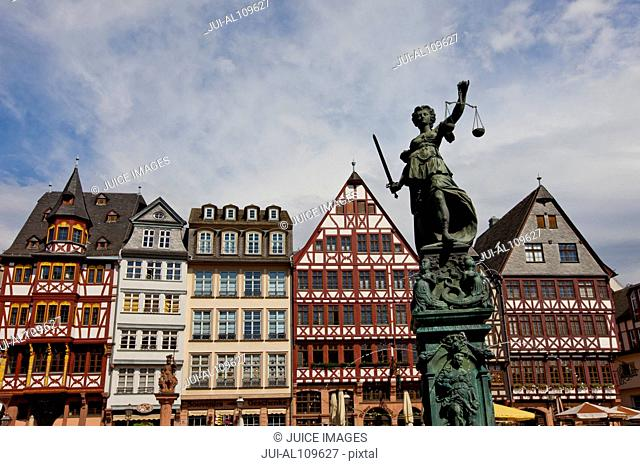 Fountain of justice, Roemerberg, Frankfurt, Hesse, Germany