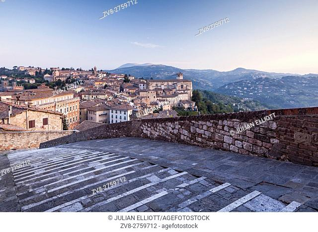 Dawn over the historic centre of Perugia, Italy