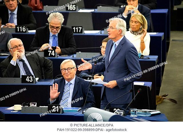 22 October 2019, France (France), Straßburg: Michel Barnier, European Union Chief Negotiator for the Brexit in the European Parliament