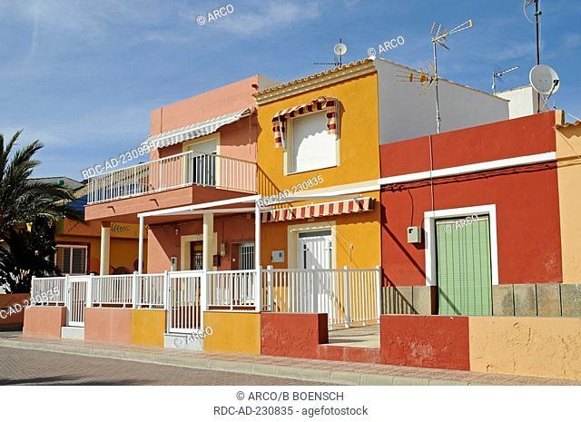 Beach houses, Bolnuevo, Puerto de Mazarron, Murcia, Costa Calida, Spain