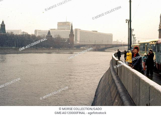 View facing east of the Rossiya Hotel, from the Sofiyskaya embankment in Moscow, Soviet Russia, USSR, November, 1973. At the time
