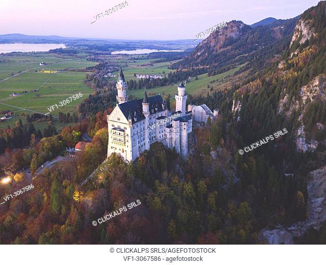 .Neuschwanstein Castle in Autumn aerial view Europe, Germany, Bavaria, southwest Bavaria, Fussen, Schwangau