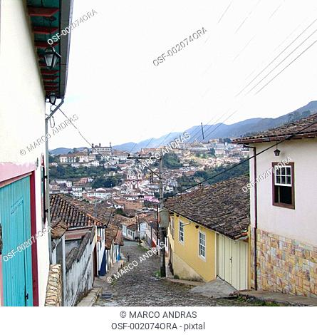ouro preto mg narrow slope street with many historical houses