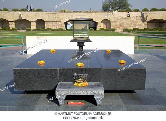 Memorial of Mahatma Gandhi, cremation site, Rajghat, Delhi, Uttar Pradesh, North India, India, Asia