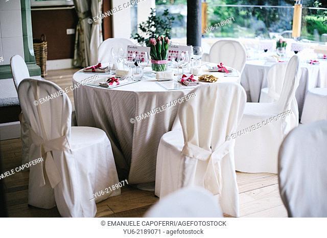 Room prepared for wedding dinner