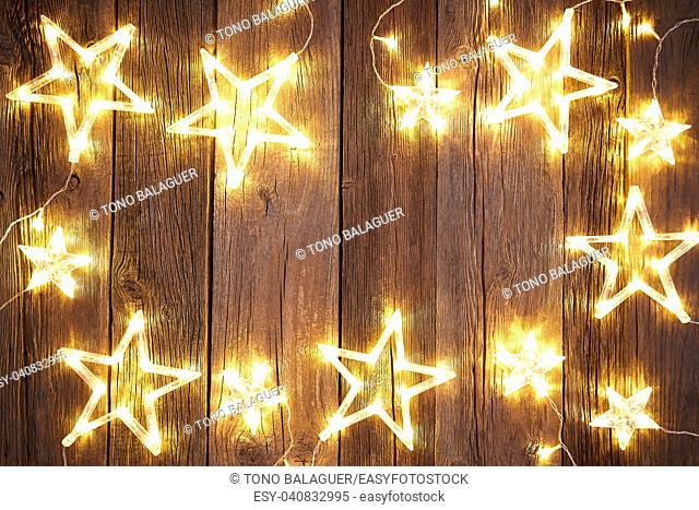 Christmas background postcard vintage stars on wooden background