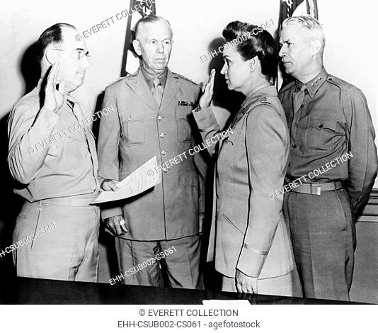 Oveta Culp Hobby sworn in as a Colonel in the U.S. Army. July 5, 1943. She was the commanding officer of the newly created Women's Army Corps