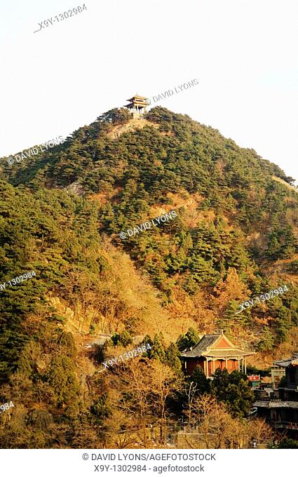 Tai Shan sacred mountain of religious pilgrimage near Jinan, Shandong Province, China  Pavilions high on ridge of eastern flanks