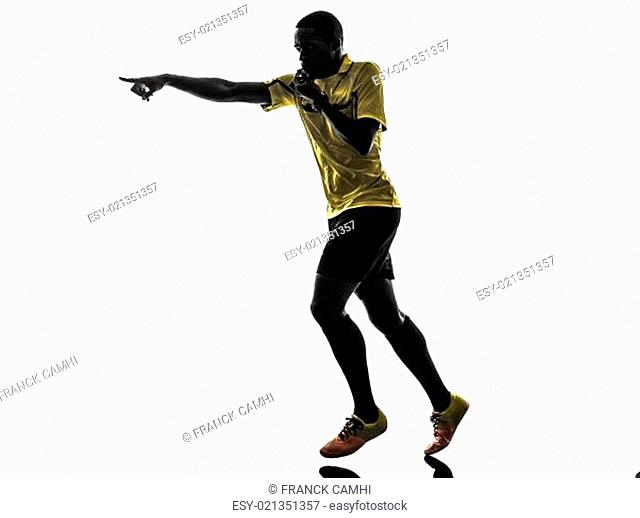 one african man referee running whistling silhouette