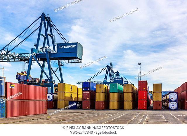 Clydeport docks and storage containers, Greenock, Glasgow, Scotland, UK