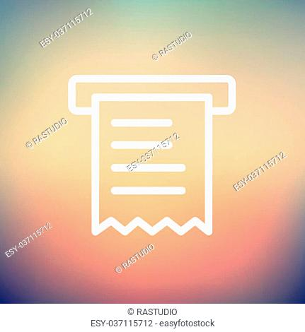 Paper towel with roller icon thin line for web and mobile, modern minimalistic flat design. Vector white icon on gradient mesh background