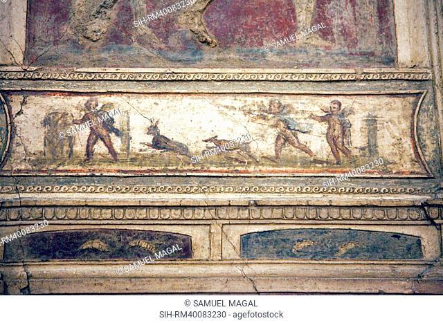 Italy, Naples, Naples Museum, from Pompeii, House of Meleager VI 9, Stucco Policromo Polychrome
