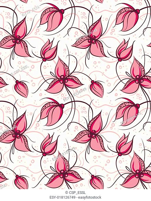 Seamless pattern red orchid flowers