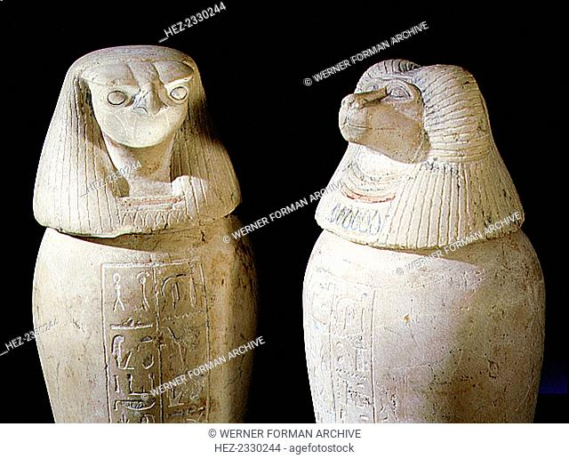 Limestone canopic jars, Ancient Egyptian, 22nd dynasty, c850-825 BC. From Tanis. Two of a set of four canopic jars used to preserve the internal organs of...