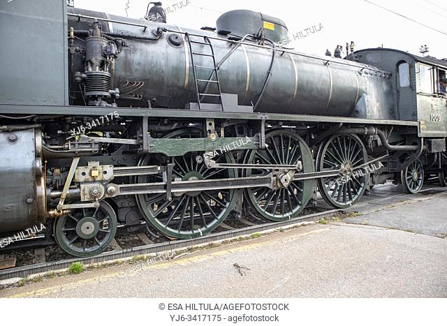 "Finnish Hr1-class """"Ukko-Pekka"""" steam engine locomotive 1009, Lappeenranta Finland"