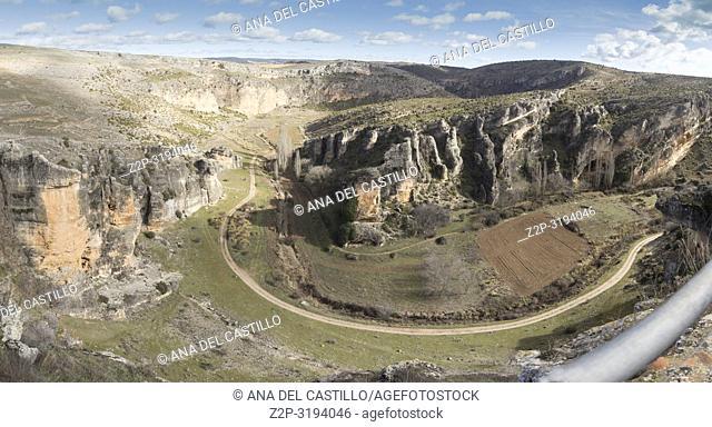 Panorama from Roman ruins of Valeria Castile La Mancha Cuenca Spain