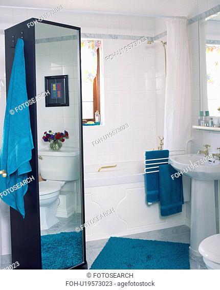 Tall mirrored cupboard in small white bathroom