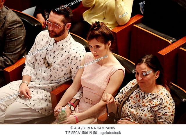 Amanda Knox with her mother, Edda Mellas, and her boyfriend, Christopher, attend the conference of the Criminal Justice Festival at the University of Modena