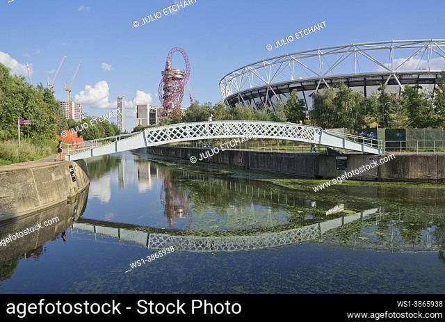Eastbank development and new construction sites by the London Stadium and the Olympic Aquatic Centre around the Queen Elizabeth Olympic Park