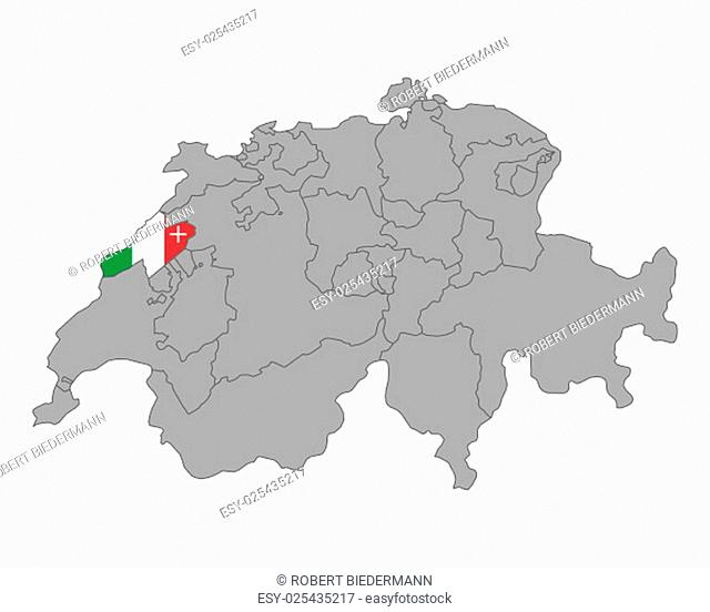 map switzerland with flag of neuchâtel