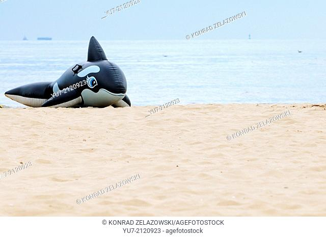 Inflatable orca on the beach in Swinoujscie at Baltic Sea, Poland