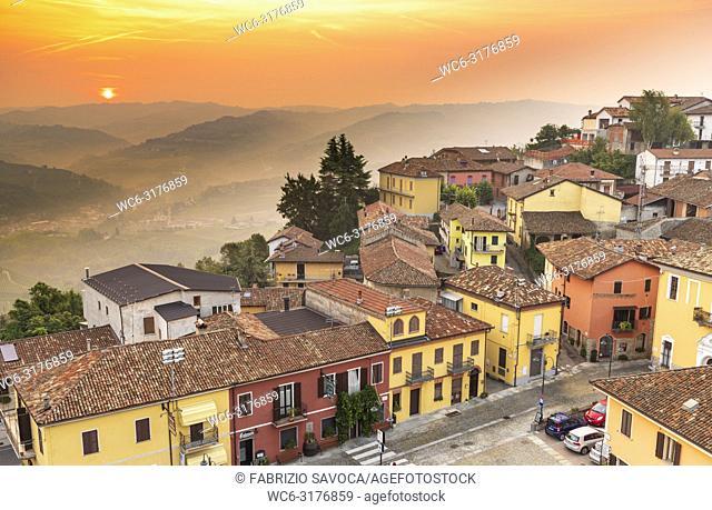 Sunrise over Diano D'Alba, Piedmont, Italy