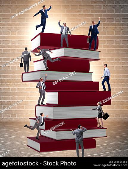 The education concept with books and people