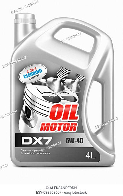 Canister motor oil isolated on white background