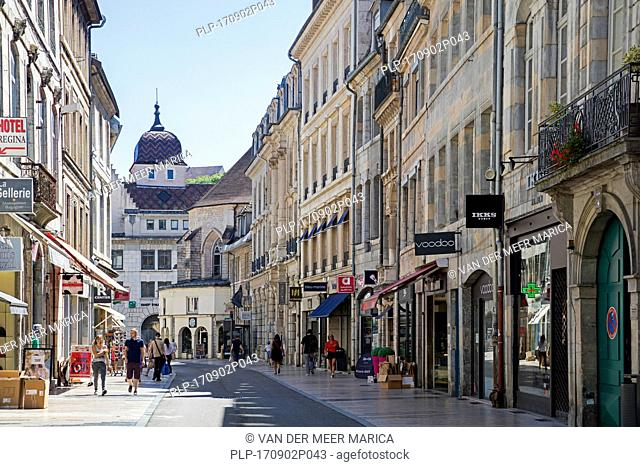 Shops in main street of the old city center of Besançon, Doubs, Bourgogne-Franche-Comté, France