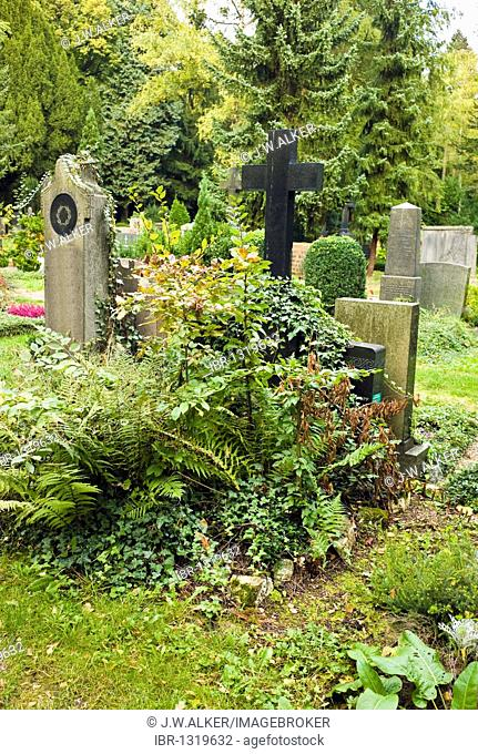 Neglected grave, cemetery, Germany, Europe