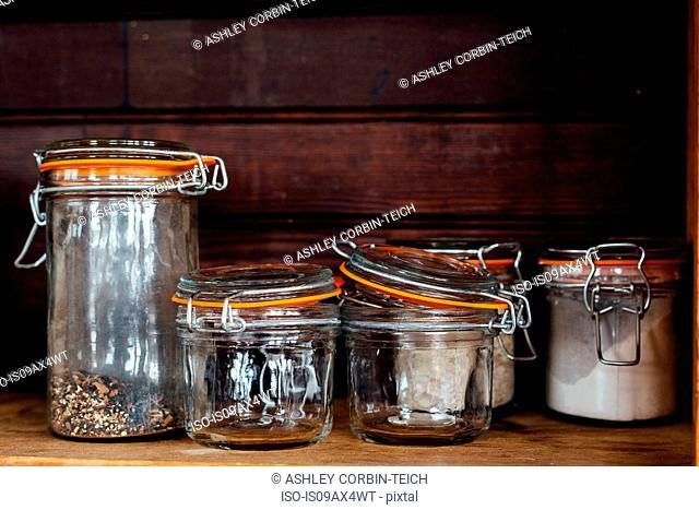 Kilner jars on shelf