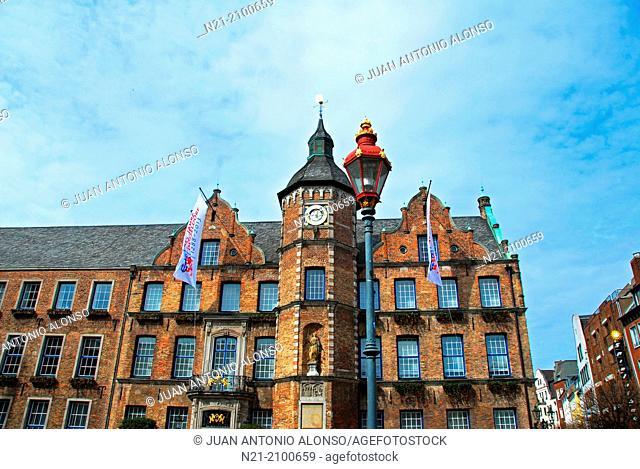 The Rathaus -the City Hall- in Marktplatz. Altstadt area. Dusseldorf, North Rhine-Westfalia, Germany, Europe