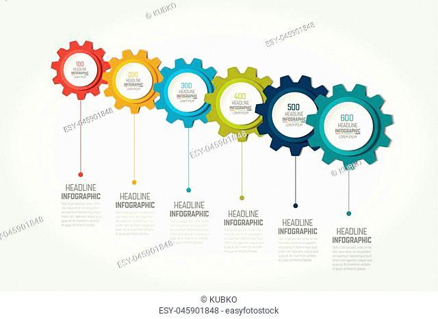 Six elements chart, scheme, diagram, timeline. 6 Infographic template