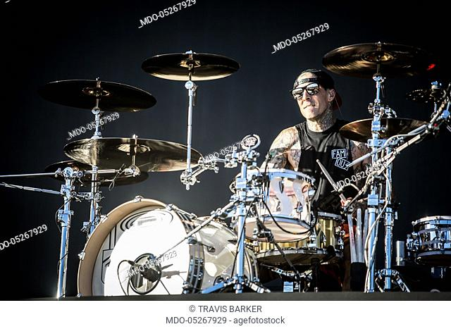 The musician and drummer of Blink 182 Travis Barker in concert for the iDays Festival 2017 at the Autodromo Nazionale di Monza. Monza, Italy