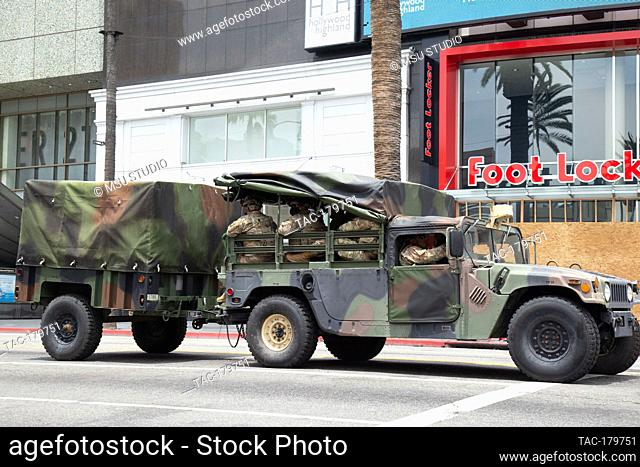 Los Angeles, CA - June 2, 2020: National Guard patrols Hollywood Boulevard during the George Floyd Black Lives Matter Protest on June 2