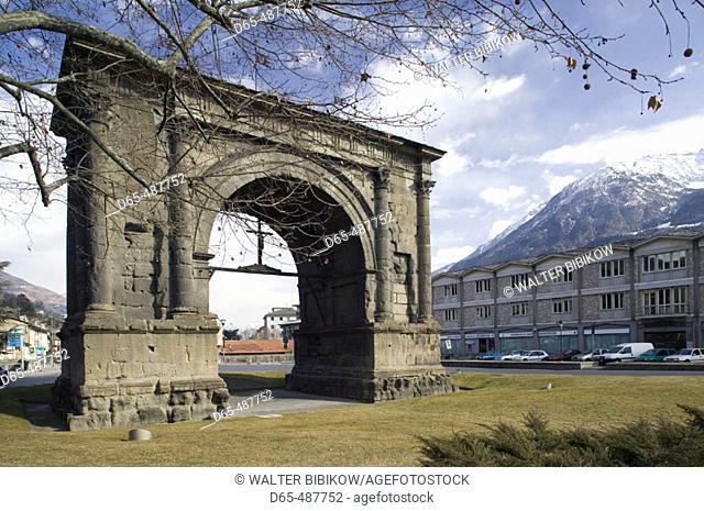 Arco di Augusto. Roman Arch & City Symbol. Winter. Aosta. Valle d'Aosta. Italy