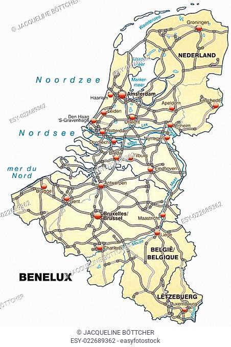 Karte von BeNeLux-Laender mit Verkehrsnetz in Pastellorange