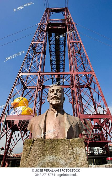 Monument to Alberto de Palacio, designer of The Vizcaya Bridge, commonly called Puente Colgante, is a transporter bridge that links the towns of Portugalete and...