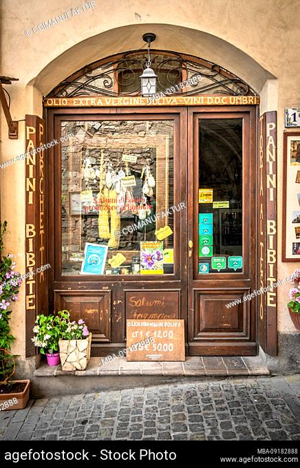 Butcher's shop in Spello, province of Perugia, Umbria, Italy