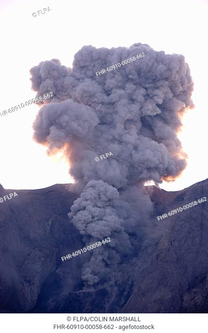 Volcanic eruption and ash plume, Mount Komba, Alor Archipelago, Lesser Sunda Islands, Indonesia