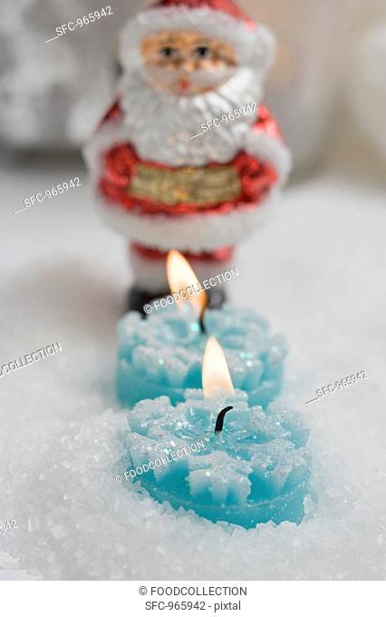 Tealights and Father Christmas Christmas tree ornament