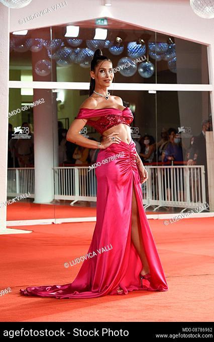Italian influencer Ludovica Valli at the 78 Venice International Film Festival 2021. Il collezionista di carte (The card counter) red carpet