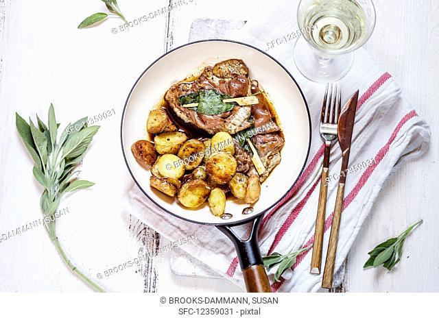 Saltimbocca alla Romana with fried potatoes