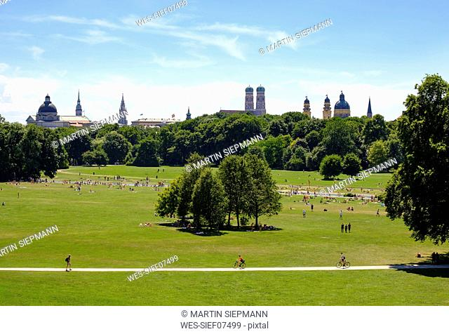 Germany, Munich, view of English Garden with skyline in the background seen from Monopteros
