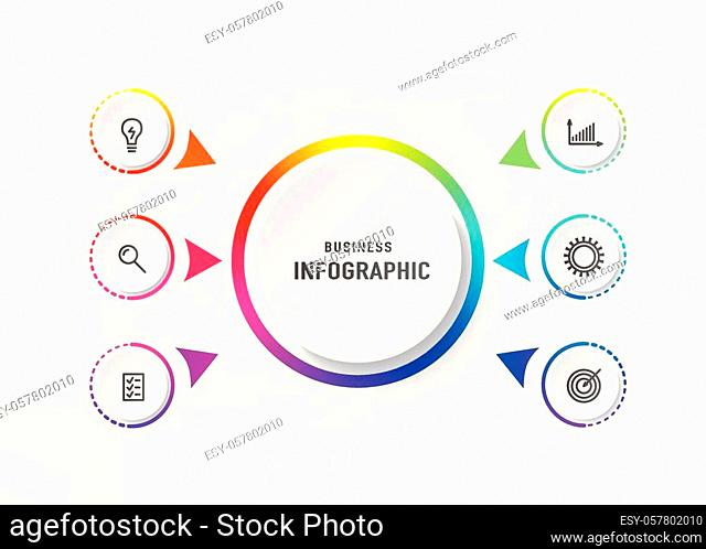 Infograph 6 element with centre circle. Graphic chart diagram, business timeline graphic design in bright rainbow color with icons