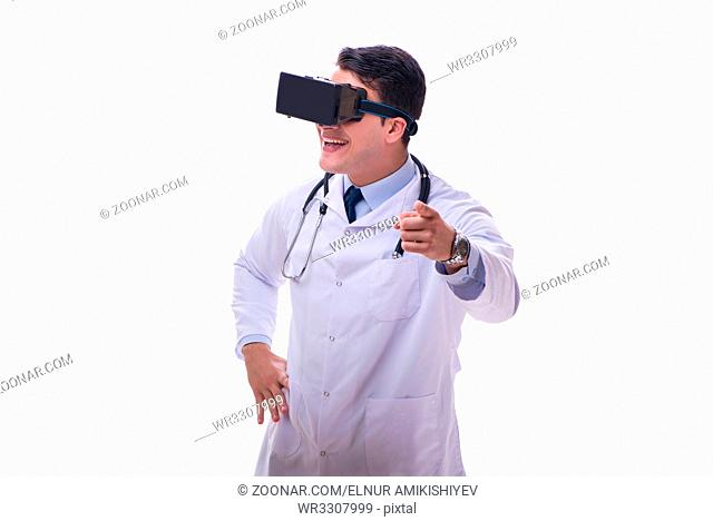Doctor wearing 3d virtual reality glasses on white