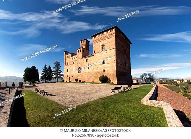 View of the Castle of Grinzane Cavour Unesco heritage in the territory of the Langhe Piedmont Italy