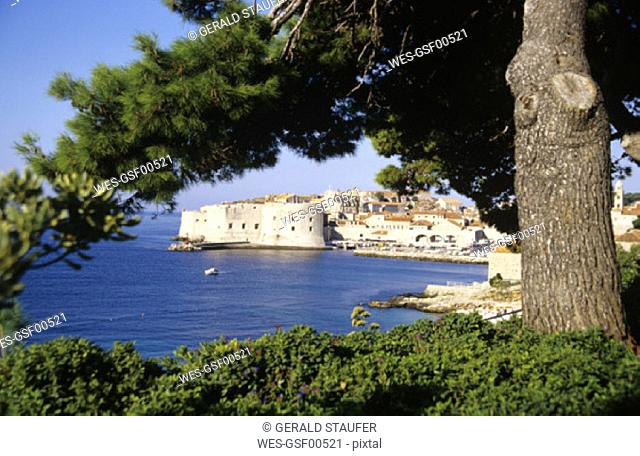 Dubrovnik, Croatia, cityscape by coast