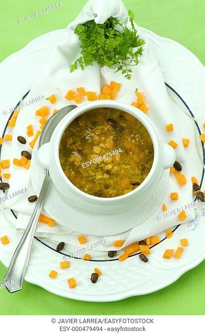 Sopa de calabaza y azukis,Azukis pumpkin soup , special diabetic plate, Cooking School Luis Irizar, Donostia, San Sebastian, Gipuzkoa, Euskadi
