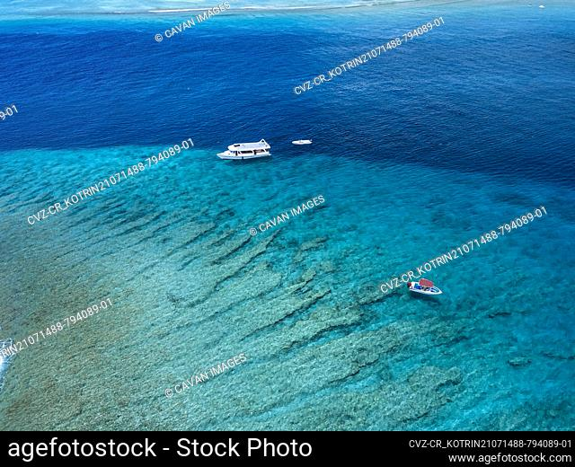 Aerial view of boat in Indian Ocean, Maldives